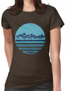 Palm trees blue beach Womens Fitted T-Shirt