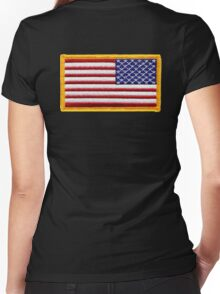 American, ARMY, Flag, reverse side flag, Arm Badge, Embroidered, Stars and Stripes, USA, United States, America, Military Badge Women's Fitted V-Neck T-Shirt