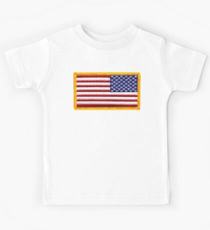 American, ARMY, Flag, reverse side flag, Arm Badge, Embroidered, Stars and Stripes, USA, United States, America, Military Badge Kids Tee