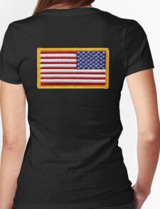 American, ARMY, Flag, reverse side flag, Arm Badge, Embroidered, Stars and Stripes, USA, United States, America, Military Badge Womens Fitted T-Shirt