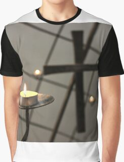 Candle and cross Graphic T-Shirt