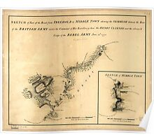 American Revolutionary War Era Maps 1750-1786 874 Sketch of part of the road from Freehold to Middle Town shewing the skirmish between the rear of the British Poster