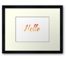Watercolor Hello Typography Framed Print