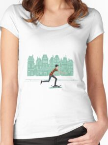 Euro street skater in gouache Women's Fitted Scoop T-Shirt