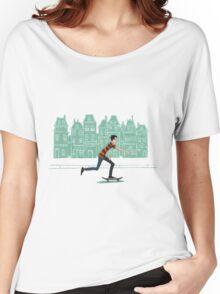 Euro street skater in gouache Women's Relaxed Fit T-Shirt