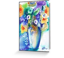 Watercolour Spring Flowers Greeting Card