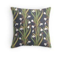 snowdrop flower pattern black Throw Pillow