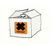 Irritating man peeks out of a box Art Print