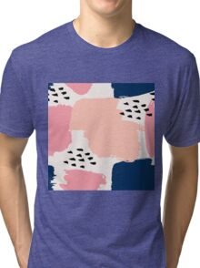 Pink, Navy and Black Abstract Tri-blend T-Shirt