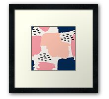 Pink, Navy and Black Abstract Framed Print