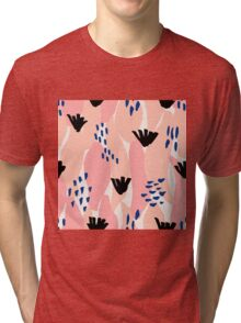 Pink, Blue and Black Abstract Tri-blend T-Shirt