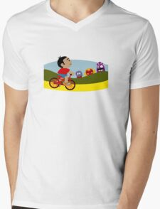 Riding A Bike Mens V-Neck T-Shirt