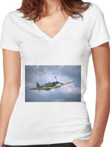 Supermarine Spitfire Mk Ia P7308 Women's Fitted V-Neck T-Shirt