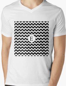 E Black Chevron Mens V-Neck T-Shirt