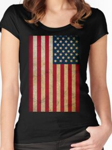 Vintage Grunge American Flag Women's Fitted Scoop T-Shirt