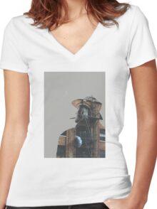 Fire Escape Cigarette Women's Fitted V-Neck T-Shirt