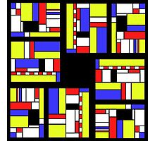 Yellow blue red white and black Photographic Print