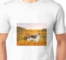 A Pretty Welshie girl in the California Poppy fields.... Unisex T-Shirt