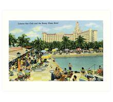 Fifties Style Miami Cabana Sun Club roney Plaza Hotel Art Print
