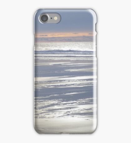 TRANQUIL SILVER BLUE CORNWALL BEACH WINTER SUNSET iPhone Case/Skin