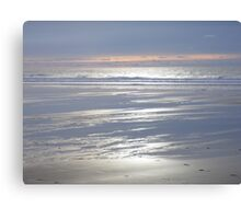 TRANQUIL SILVER BLUE CORNWALL BEACH WINTER SUNSET Canvas Print