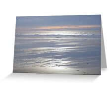 TRANQUIL SILVER BLUE CORNWALL BEACH WINTER SUNSET Greeting Card