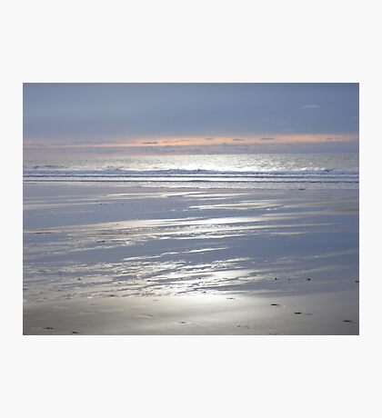 TRANQUIL SILVER BLUE CORNWALL BEACH WINTER SUNSET Photographic Print