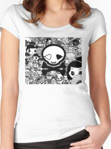 mikoto's Black & White Women's Fitted Scoop T-Shirt