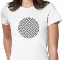 greek key labyrinth geometric pattern  Womens Fitted T-Shirt