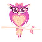 Cute girlie owl graphic bird by Sarah Trett