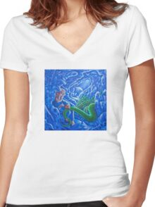 Cave Drawings Women's Fitted V-Neck T-Shirt