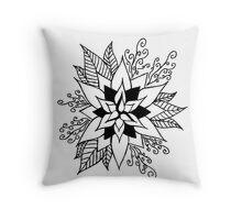 Black and White Flower Design Throw Pillow