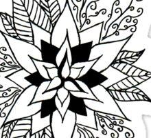 Black and White Flower Design Sticker