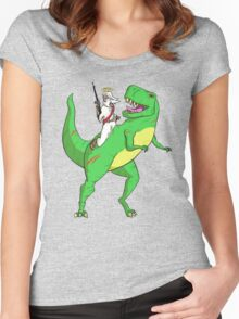 Jesus Riding a Dinosaur Women's Fitted Scoop T-Shirt