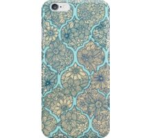 Moroccan Floral Lattice Arrangement - aqua / teal iPhone Case/Skin