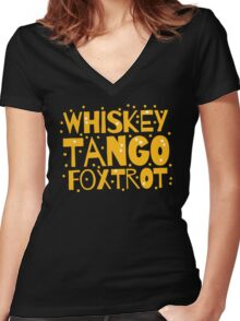 Whiskey Tango FOXTROT (WTF) hipster edition Women's Fitted V-Neck T-Shirt
