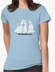 Tops'l Schooner Sail/Spar Plan Womens Fitted T-Shirt