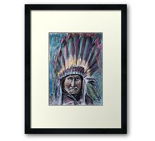 Geronimo with headdress colorful pastel Framed Print