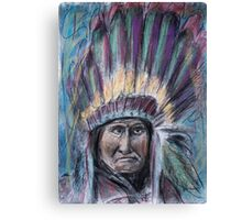 Geronimo with headdress colorful pastel Canvas Print
