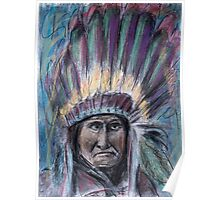 Geronimo with headdress colorful pastel Poster