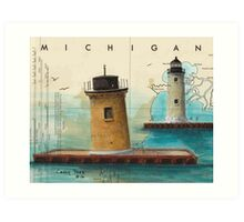 St Clair Flats Range Lighthouses MI Nautical Chart Map Cathy Peek Art Print