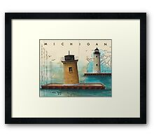 St Clair Flats Range Lighthouses MI Nautical Chart Map Cathy Peek Framed Print