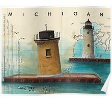 St Clair Flats Range Lighthouses MI Nautical Chart Map Cathy Peek Poster