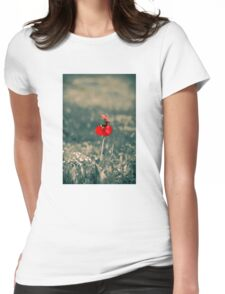 Lonely Red Flower Womens Fitted T-Shirt