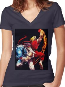 Ken and Ryu  Women's Fitted V-Neck T-Shirt