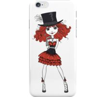 Goth girl in black dress and silk hat iPhone Case/Skin