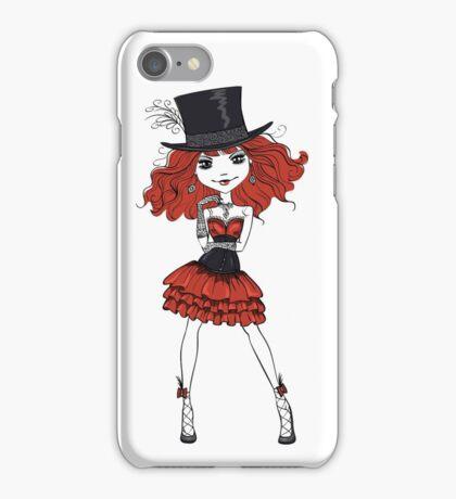 Goth girl in black dress and silk hat iPhone Case/Skin