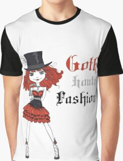Goth girl in black dress and silk hat Graphic T-Shirt