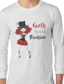 Goth girl in black dress and silk hat Long Sleeve T-Shirt