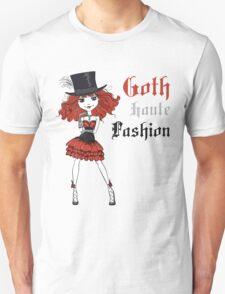 Goth girl in black dress and silk hat Unisex T-Shirt